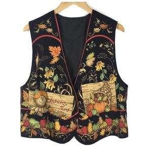 Jackets & Coats - Autumn Time Fall Black Vest Size XL